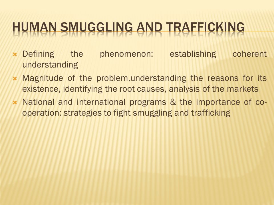  Defining the phenomenon: establishing coherent understanding  Magnitude of the problem,understanding the reasons for its existence, identifying the root causes, analysis of the markets  National and international programs & the importance of co- operation: strategies to fight smuggling and trafficking