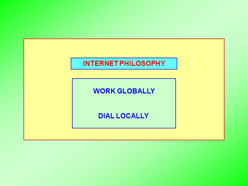 INTERNET PHILOSOPHY WORK GLOBALLY DIAL LOCALLY