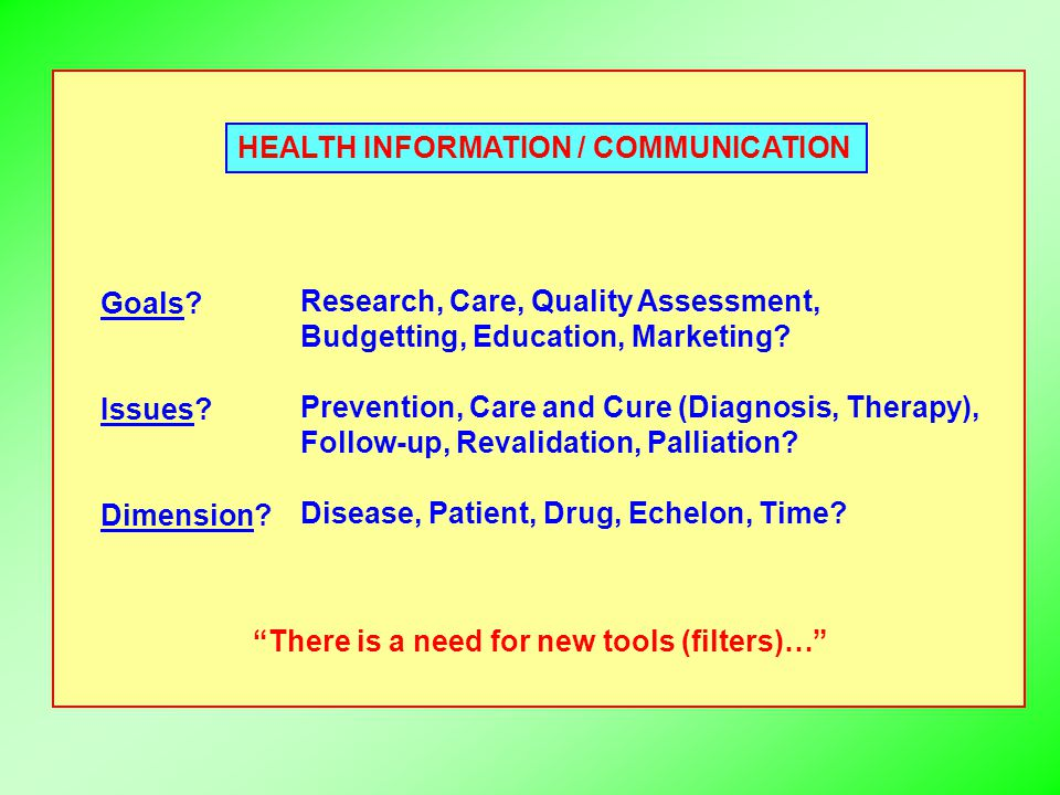 HEALTH INFORMATION / COMMUNICATION Goals? Issues? Dimension? Research, Care, Quality Assessment, Budgetting, Education, Marketing? Prevention, Care an