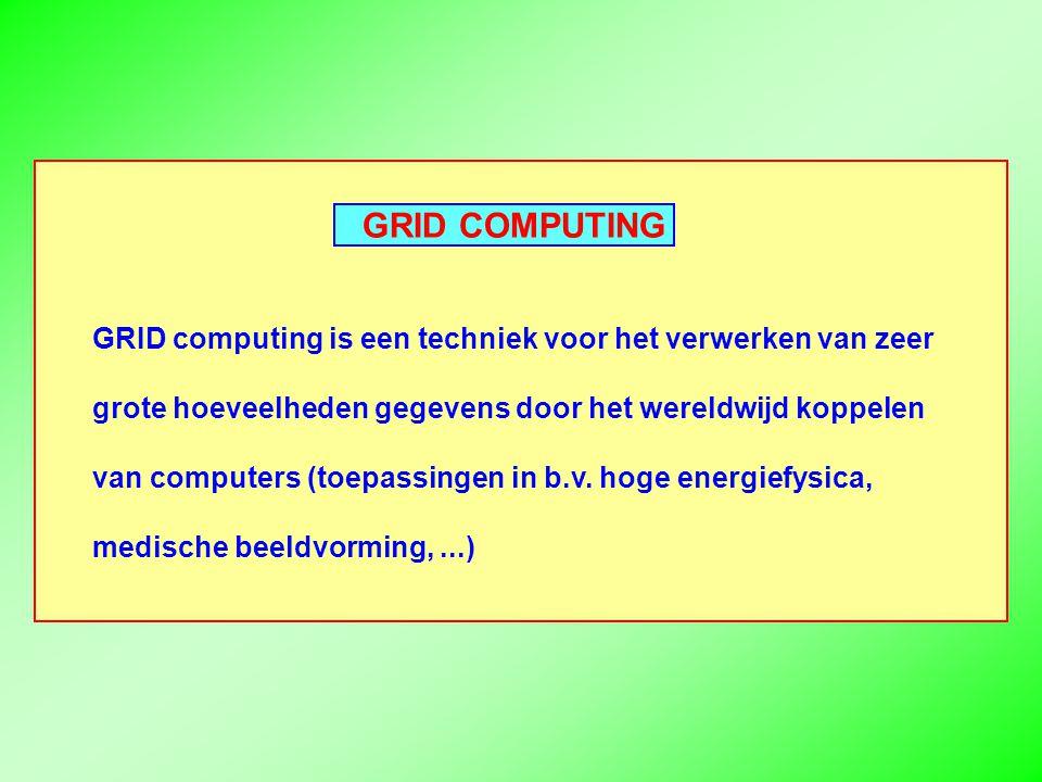 GRID COMPUTING GRID computing is een techniek voor het verwerken van zeer grote hoeveelheden gegevens door het wereldwijd koppelen van computers (toepassingen in b.v.
