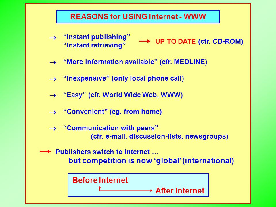 "REASONS for USING Internet - WWW ""Instant publishing"" ""Instant retrieving"" ""More information available"" (cfr. MEDLINE) ""Inexpensive"" (only local phone"