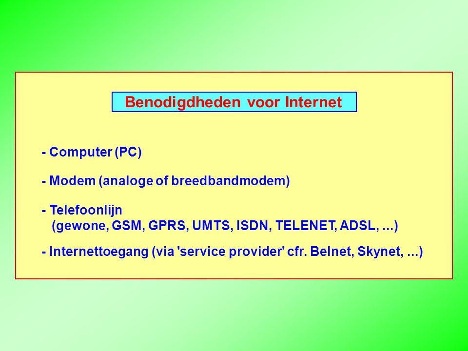 Benodigdheden voor Internet - Computer (PC) - Modem (analoge of breedbandmodem) - Telefoonlijn (gewone, GSM, GPRS, UMTS, ISDN, TELENET, ADSL,...) - Internettoegang (via service provider cfr.