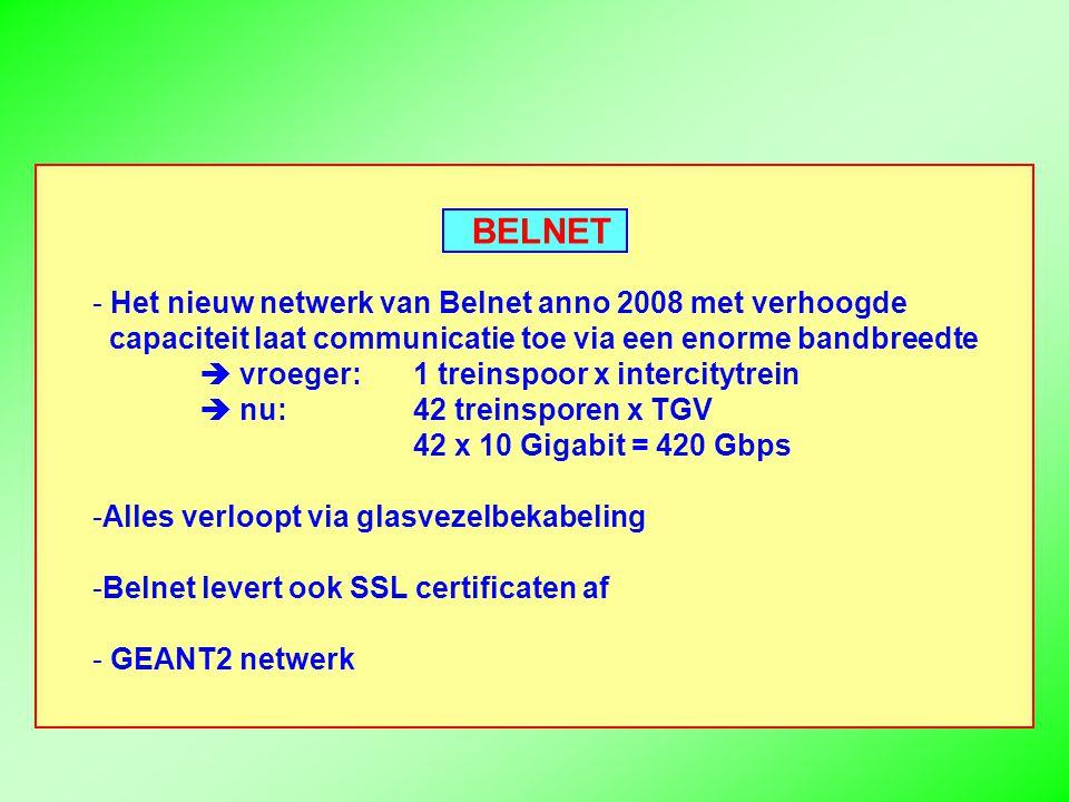 BELNET - Het nieuw netwerk van Belnet anno 2008 met verhoogde capaciteit laat communicatie toe via een enorme bandbreedte  vroeger:1 treinspoor x intercitytrein  nu: 42 treinsporen x TGV 42 x 10 Gigabit = 420 Gbps -Alles verloopt via glasvezelbekabeling -Belnet levert ook SSL certificaten af - GEANT2 netwerk