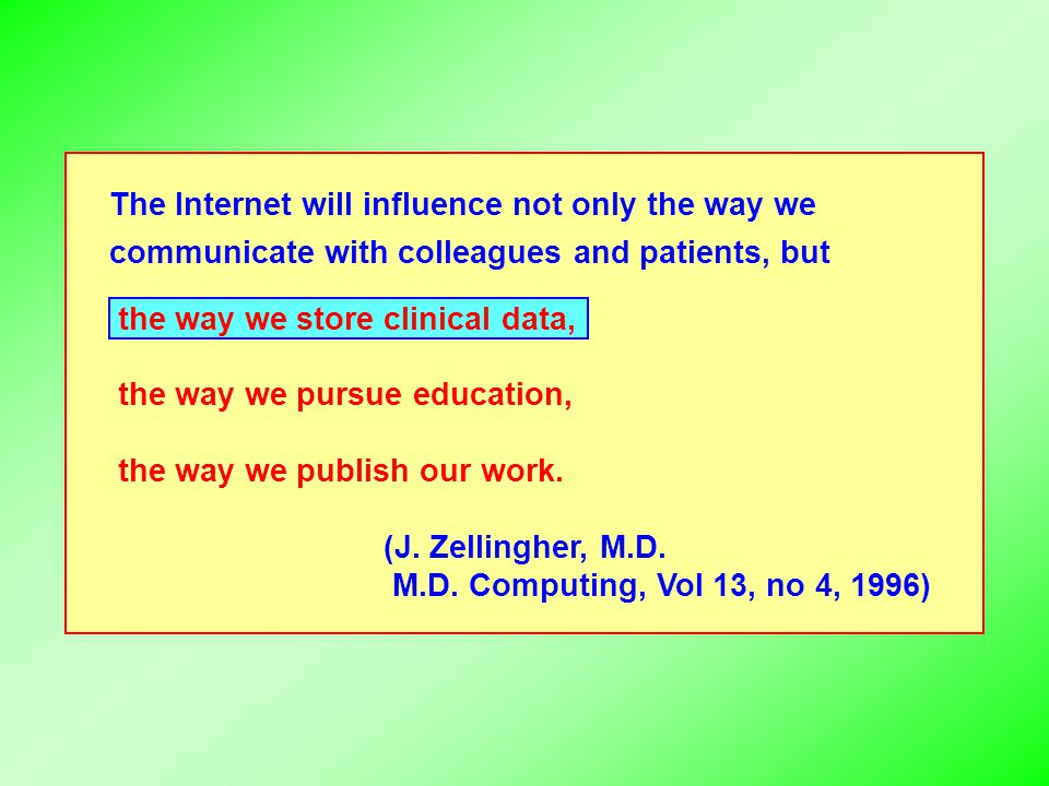 The Internet will influence not only the way we communicate with colleagues and patients, but the way we store clinical data, the way we pursue educat