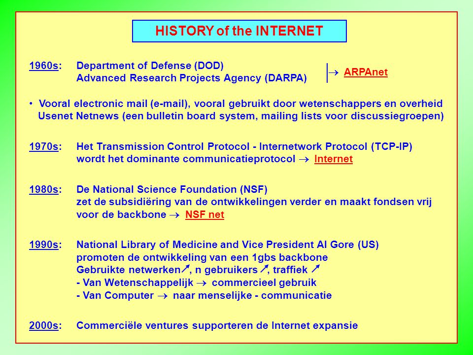 HISTORY of the INTERNET 1960s:Department of Defense (DOD) Advanced Research Projects Agency (DARPA) Vooral electronic mail (e-mail), vooral gebruikt d