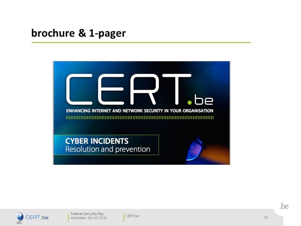 35 Mechelen - 06/02/2014 CERT.be Telenet Security Day brochure & 1-pager 35