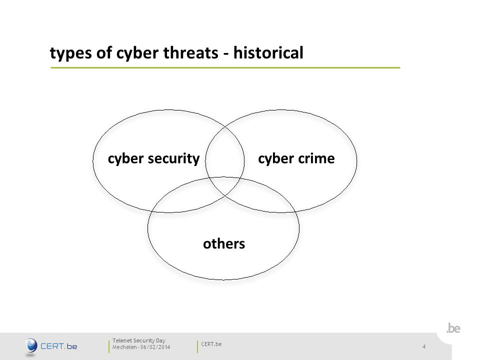 4 Mechelen - 06/02/2014 CERT.be Telenet Security Day types of cyber threats - historical 4 cyber securitycyber crime others