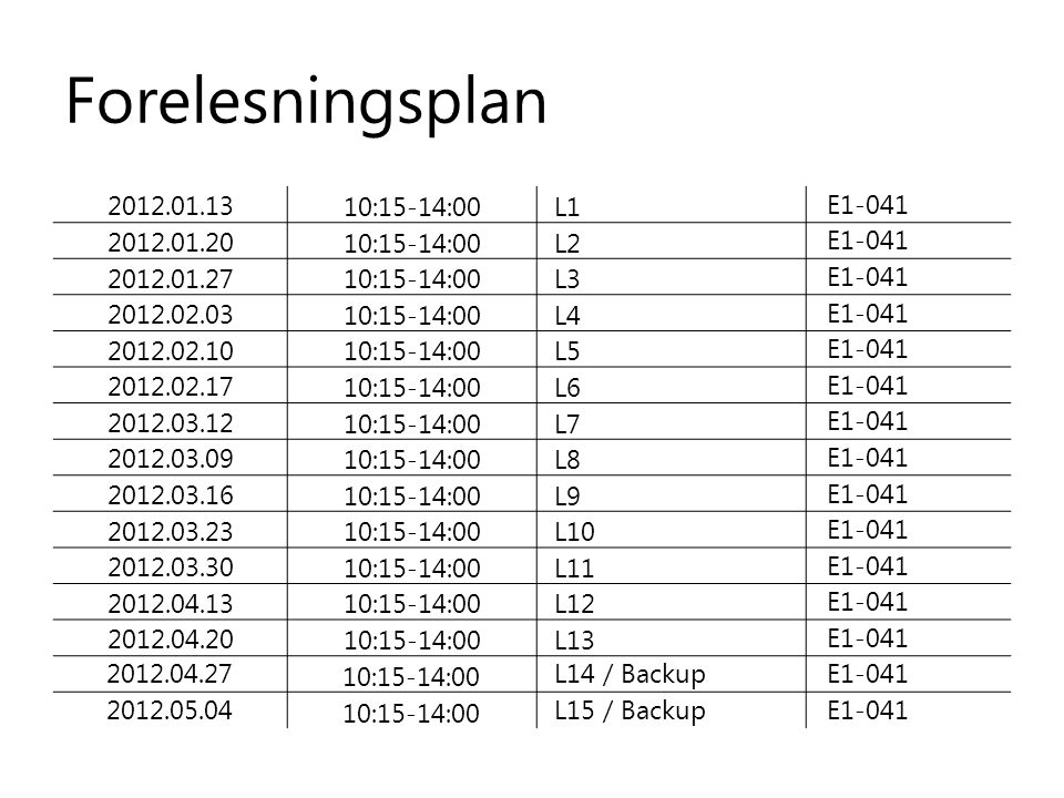 Forelesningsplan 2012.01.13 10:15-14:00L1 E1-041 2012.01.20 10:15-14:00L2 E1-041 2012.01.27 10:15-14:00L3 E1-041 2012.02.03 10:15-14:00L4 E1-041 2012.02.10 10:15-14:00L5 E1-041 2012.02.17 10:15-14:00L6 E1-041 2012.03.12 10:15-14:00L7 E1-041 2012.03.09 10:15-14:00L8 E1-041 2012.03.16 10:15-14:00L9 E1-041 2012.03.23 10:15-14:00L10 E1-041 2012.03.30 10:15-14:00L11 E1-041 2012.04.13 10:15-14:00L12 E1-041 2012.04.20 10:15-14:00L13 E1-041 2012.04.2710:15-14:00L14 / BackupE1-041 2012.05.0410:15-14:00L15 / BackupE1-041