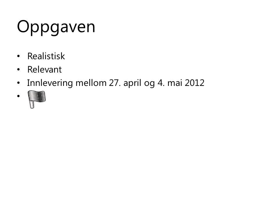Oppgaven Realistisk Relevant Innlevering mellom 27. april og 4. mai 2012