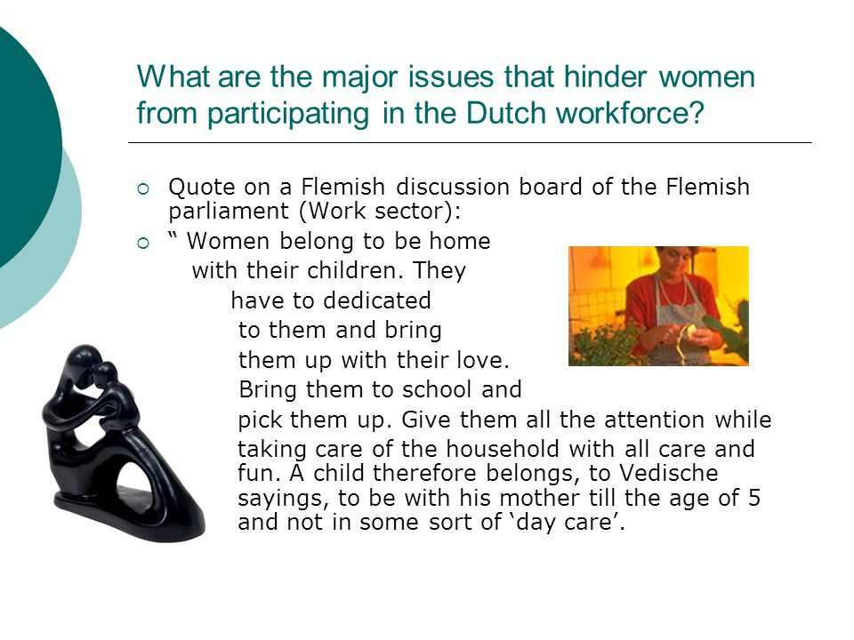 What are the major issues that hinder women from participating in the Dutch workforce.