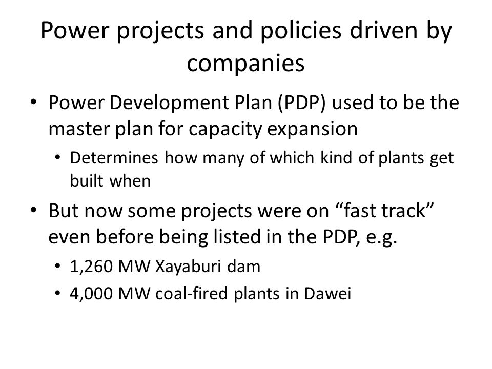Energy policy and plans become tools to drive the stock market and churn profits The coup-installed government announced its policy on energy investment opportunities on 3 Oct 2006 Energy policy, PDP approval and IPP bidding resulted in significant windfall benefits for selected companies 1 year later, the share prices of companies benefiting from the PDP jumped 66% (other companies had a 8.7% rise)