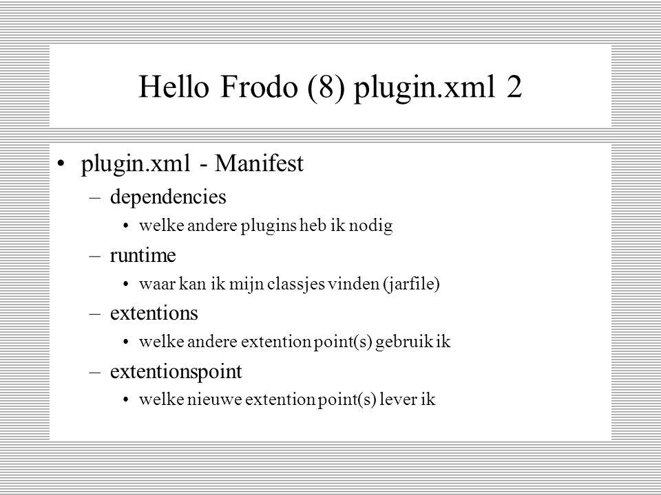Hello Frodo (7) plugin.xml 1 <plugin id= nl.java2.demo.plugin02 name= Plugin02 Plug-in version= 1.0.0 provider-name= java 2 nl class= nl.java2.demo.plugin02.Plugin02Plugin >