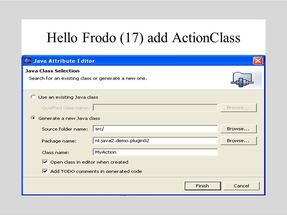 Hello Frodo (16) add ActionClass