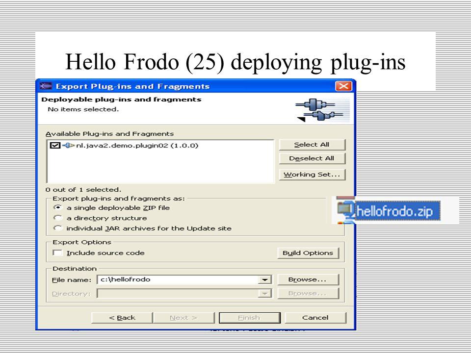 Hello Frodo (24) deploying plug-ins