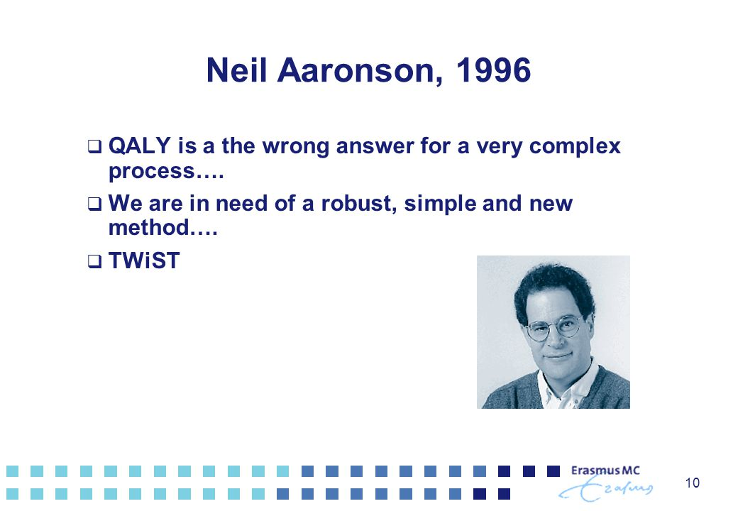 10 Neil Aaronson, 1996  QALY is a the wrong answer for a very complex process….