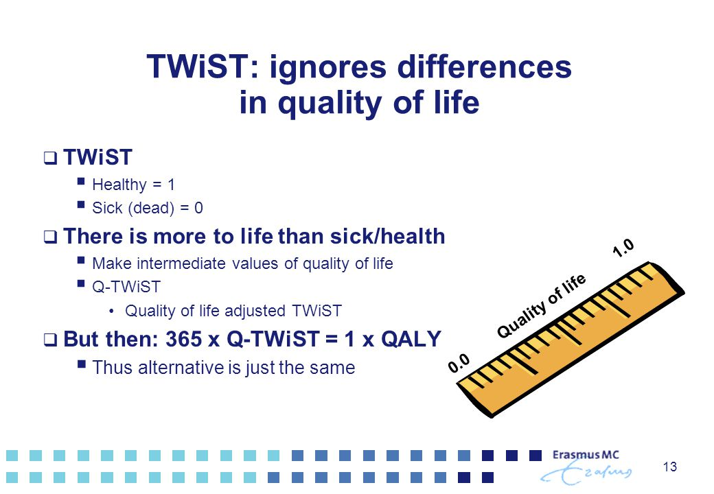 13 TWiST: ignores differences in quality of life  TWiST  Healthy = 1  Sick (dead) = 0  There is more to life than sick/health  Make intermediate values of quality of life  Q-TWiST Quality of life adjusted TWiST  But then: 365 x Q-TWiST = 1 x QALY  Thus alternative is just the same 0.0 Quality of life 1.0