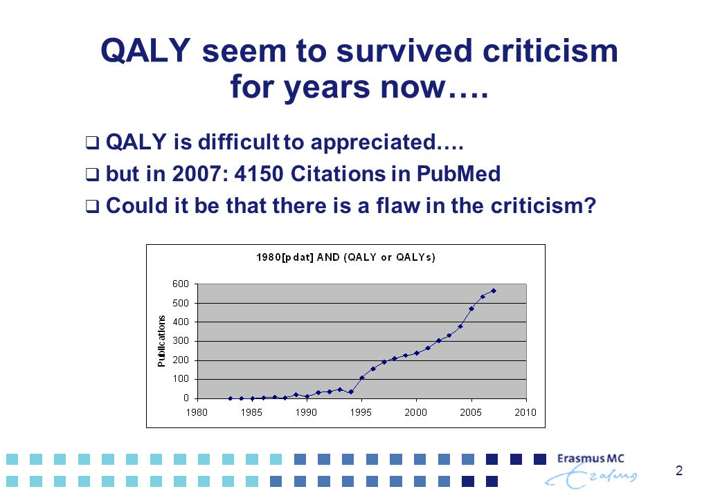 QALY seem to survived criticism for years now…. QALY is difficult to appreciated….