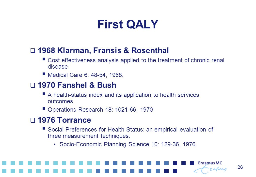 26 First QALY  1968 Klarman, Fransis & Rosenthal  Cost effectiveness analysis applied to the treatment of chronic renal disease  Medical Care 6: 48 ‑ 54, 1968.