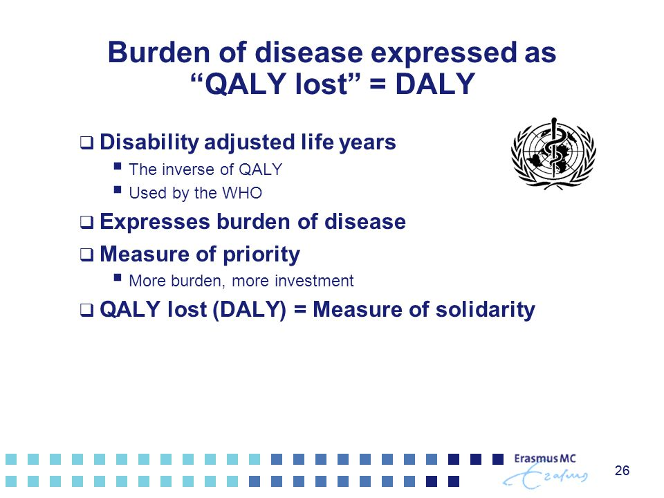 "26 Burden of disease expressed as ""QALY lost"" = DALY  Disability adjusted life years  The inverse of QALY  Used by the WHO  Expresses burden of di"