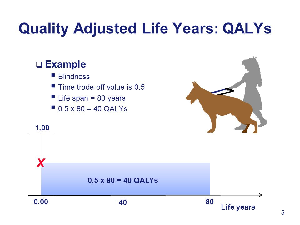 5  Example  Blindness  Time trade-off value is 0.5  Life span = 80 years  0.5 x 80 = 40 QALYs Quality Adjusted Life Years: QALYs 5 0.00 1.00 X Li