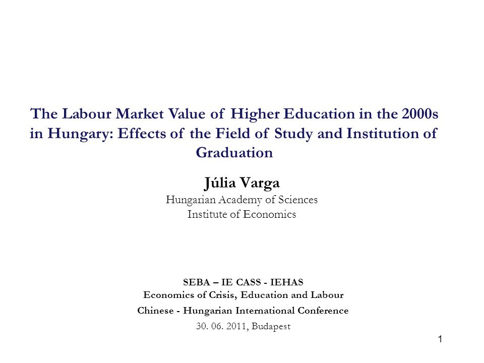 1 Júlia Varga Hungarian Academy of Sciences Institute of Economics SEBA – IE CASS - IEHAS Economics of Crisis, Education and Labour Chinese - Hungaria