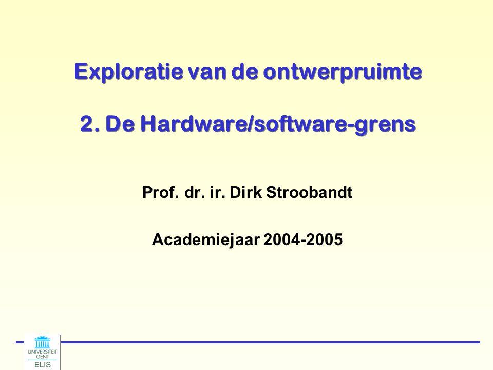 Dirk Stroobandt: Ontwerpmethodologie van Complexe Systemen 2004-2005 -32- Loop tiling/loop blocking tiled version for (kk=1; kk<= N; kk+=B) for (jj=1; jj<= N; jj+=B) for (i=1; i<= N; i++) for (k=kk; k<= min(kk+B-1,N); k++){ r=X[i][k]; /* to be allocated to a register*/ for (j=jj; j<= min(jj+B-1, N); j++) Z[i][j] += r* Y[k][j] } Reuse factor of B for Z and Y, O(N³/B) accesses to main memory Same elements for next iteration of i k++, j++ jj kk j++ k++ i++ jj k++ i++ kk j++ jj kk i++