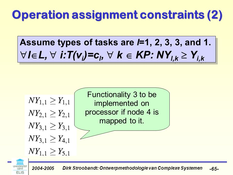 Dirk Stroobandt: Ontwerpmethodologie van Complexe Systemen 2004-2005 -65- Operation assignment constraints (2) Assume types of tasks are l=1, 2, 3, 3, and 1.