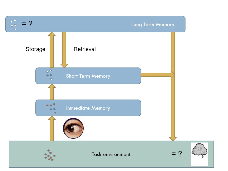 Task environment Long Term Memory Short Term Memory Immediate Memory = ? StorageRetrieval = ?