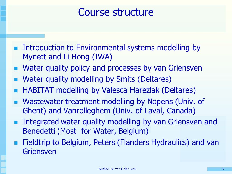 Author. A. van Griensven 3 Course structure Introduction to Environmental systems modelling by Mynett and Li Hong (IWA) Water quality policy and proce
