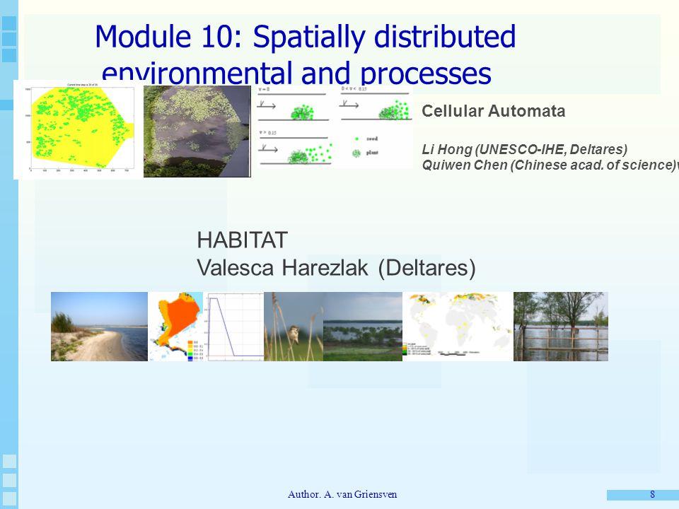 Author. A. van Griensven 8 Module 10: Spatially distributed environmental and processes Cellular Automata Li Hong (UNESCO-IHE, Deltares) Quiwen Chen (