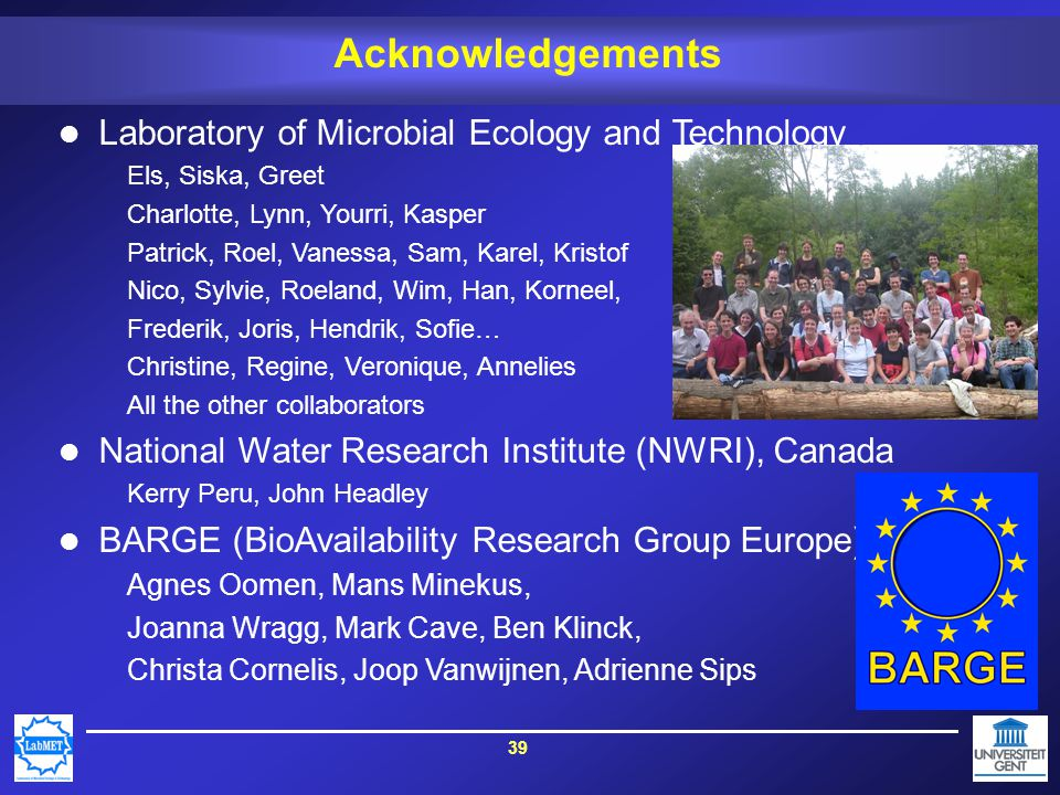 39 Acknowledgements Laboratory of Microbial Ecology and Technology Els, Siska, Greet Charlotte, Lynn, Yourri, Kasper Patrick, Roel, Vanessa, Sam, Karel, Kristof Nico, Sylvie, Roeland, Wim, Han, Korneel, Frederik, Joris, Hendrik, Sofie… Christine, Regine, Veronique, Annelies All the other collaborators National Water Research Institute (NWRI), Canada Kerry Peru, John Headley BARGE (BioAvailability Research Group Europe) Agnes Oomen, Mans Minekus, Joanna Wragg, Mark Cave, Ben Klinck, Christa Cornelis, Joop Vanwijnen, Adrienne Sips