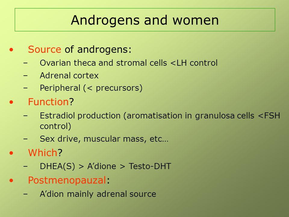 Female androgen insufficiency: Princeton consensus (Fertil Steril 2002;77:660-5) Symptomen: - verminderd welbevinden en neerslachtige stemming - blijvende onverklaarde vermoeidheid - verstoorde seksuele respons (libido) Omdat oestrogenen ook een invloed hebben op stemming en seksuele respons, kan de diagnose alleen gesteld worden bij vrouwen met adequate oestrogenisatie Vrije testosteronwaarde ≤ 25ste percentiel van normale waarden bij vrouwen tussen 20 en 40 jaar
