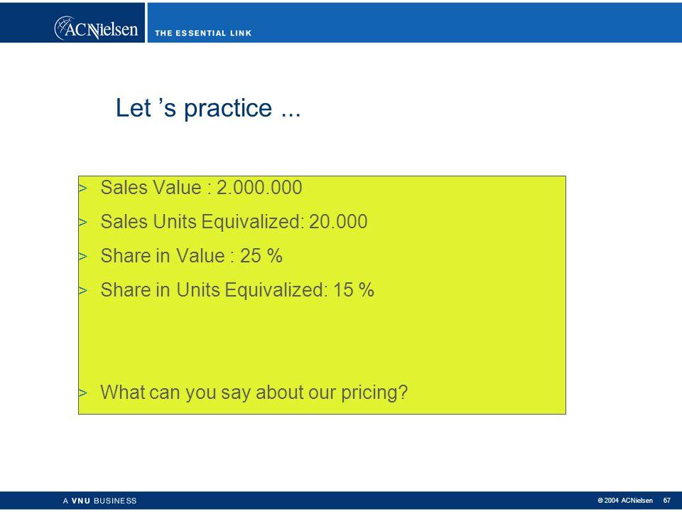 © 2004 ACNielsen 66 Let 's practice... > Sales Value : 2.000.000 > Sales Units : 20.000 > Sales Volume (kg) : 40.000 > Sales Value : 3.000.000 > Sales