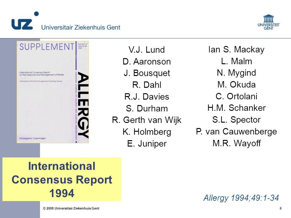 6 6© 2008 Universitair Ziekenhuis Gent Allergy 1994;49:1-34 V.J.