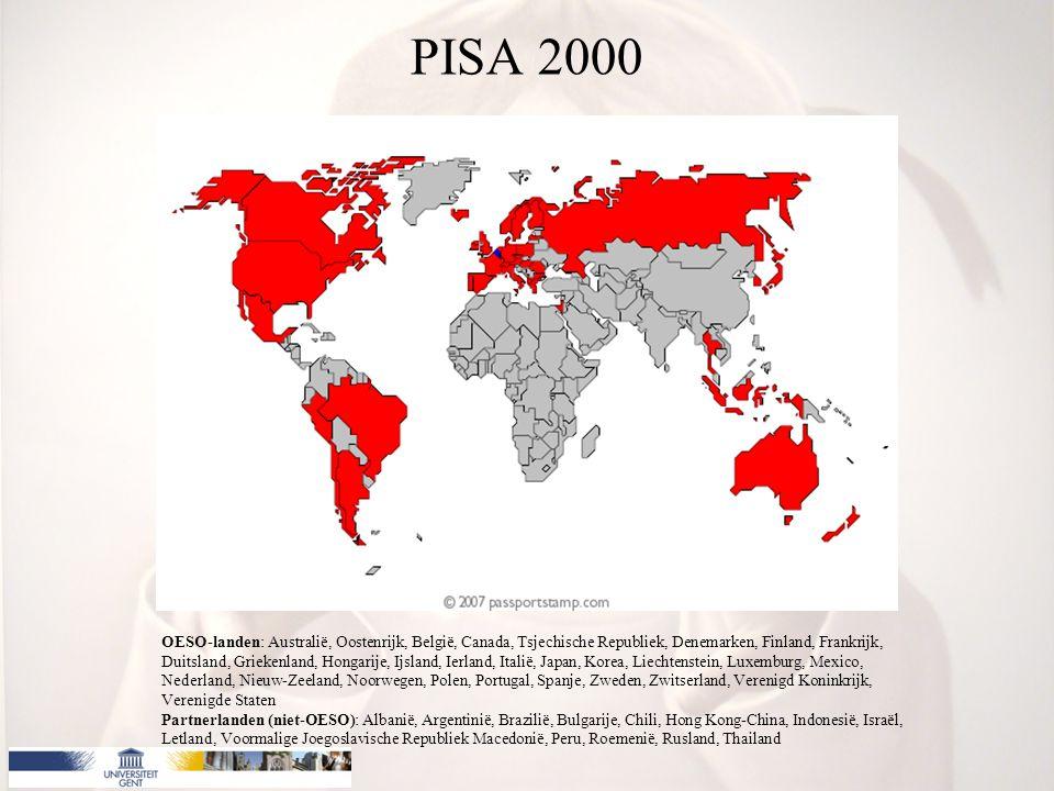 PISA 2000 OESO-landen: Australië, Oostenrijk, België, Canada, Tsjechische Republiek, Denemarken, Finland, Frankrijk, Duitsland, Griekenland, Hongarije, Ijsland, Ierland, Italië, Japan, Korea, Liechtenstein, Luxemburg, Mexico, Nederland, Nieuw-Zeeland, Noorwegen, Polen, Portugal, Spanje, Zweden, Zwitserland, Verenigd Koninkrijk, Verenigde Staten Partnerlanden (niet-OESO): Albanië, Argentinië, Brazilië, Bulgarije, Chili, Hong Kong-China, Indonesië, Israël, Letland, Voormalige Joegoslavische Republiek Macedonië, Peru, Roemenië, Rusland, Thailand