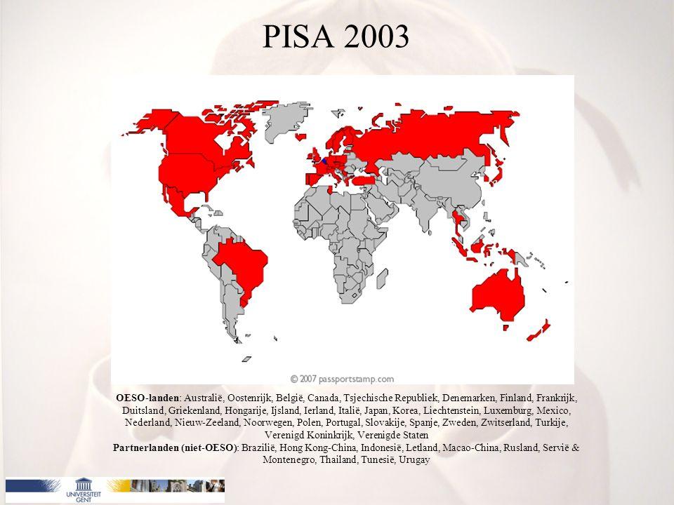 PISA 2003 OESO-landen: Australië, Oostenrijk, België, Canada, Tsjechische Republiek, Denemarken, Finland, Frankrijk, Duitsland, Griekenland, Hongarije, Ijsland, Ierland, Italië, Japan, Korea, Liechtenstein, Luxemburg, Mexico, Nederland, Nieuw-Zeeland, Noorwegen, Polen, Portugal, Slovakije, Spanje, Zweden, Zwitserland, Turkije, Verenigd Koninkrijk, Verenigde Staten Partnerlanden (niet-OESO): Brazilië, Hong Kong-China, Indonesië, Letland, Macao-China, Rusland, Servië & Montenegro, Thailand, Tunesië, Urugay