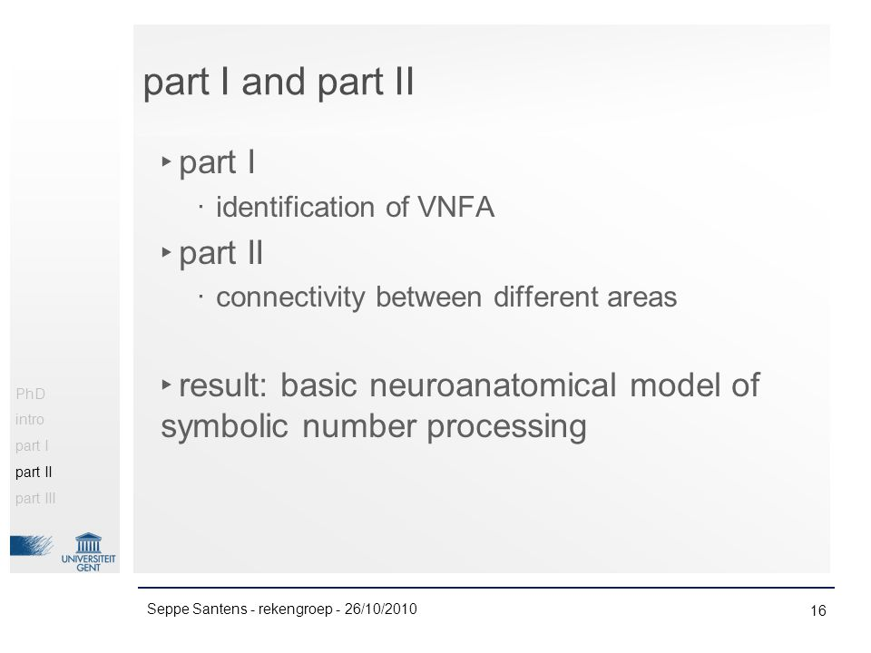 part I and part II ‣ part I ‧ identification of VNFA ‣ part II ‧ connectivity between different areas ‣ result: basic neuroanatomical model of symbolic number processing 16 Seppe Santens - rekengroep - 26/10/2010 PhD intro part I part II part III