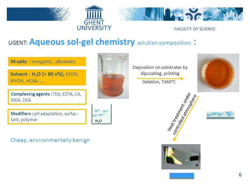 UGENT: Aqueous sol-gel chemistry solution composition : M-salts : inorganic, alkoxides Solvent : H 2 O (> 80 v%), EtOH, iPrOH, HOAc,...