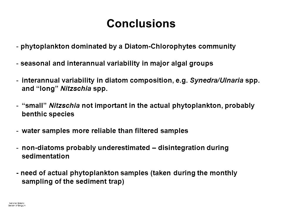 Conclusions National Botanic Garden of Belgium - phytoplankton dominated by a Diatom-Chlorophytes community - seasonal and interannual variability in