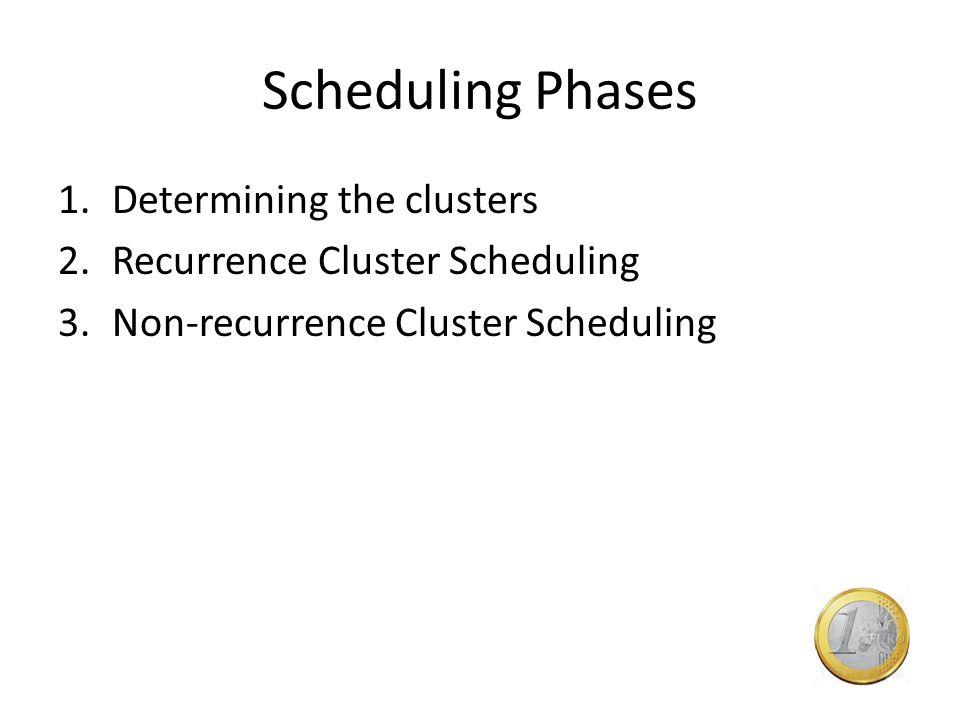 Scheduling Phases 1.Determining the clusters 2.Recurrence Cluster Scheduling 3.Non-recurrence Cluster Scheduling