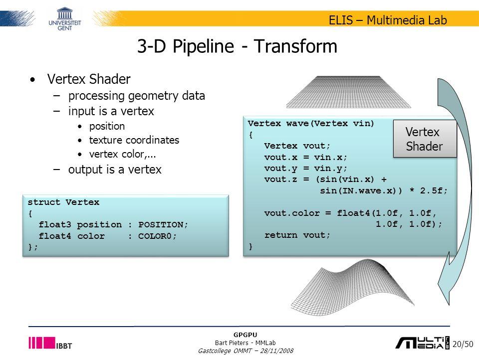20/50 ELIS – Multimedia Lab GPGPU Bart Pieters - MMLab Gastcollege OMMT – 28/11/2008 3-D Pipeline - Transform Vertex Shader –processing geometry data –input is a vertex position texture coordinates vertex color,...