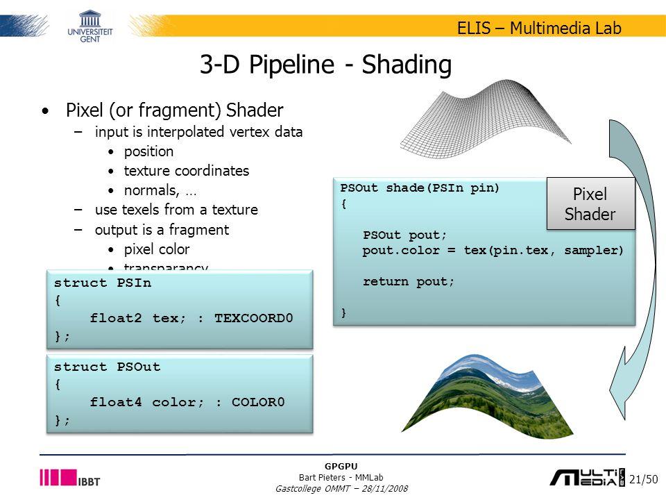 21/50 ELIS – Multimedia Lab GPGPU Bart Pieters - MMLab Gastcollege OMMT – 28/11/2008 Pixel (or fragment) Shader –input is interpolated vertex data pos