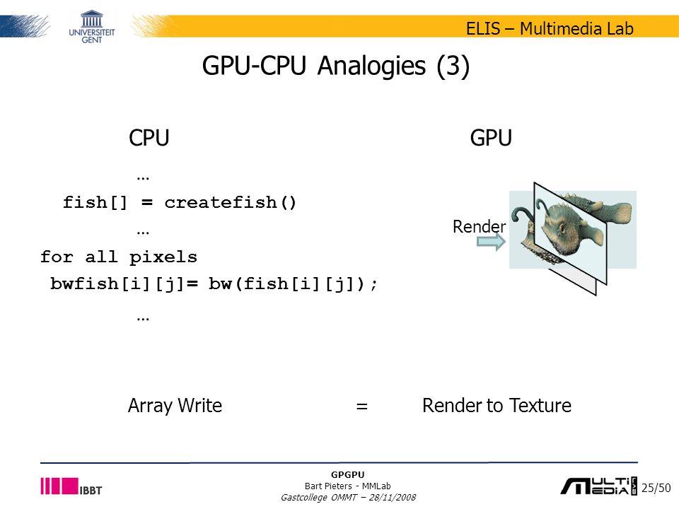 25/50 ELIS – Multimedia Lab GPGPU Bart Pieters - MMLab Gastcollege OMMT – 28/11/2008 GPU-CPU Analogies (3) … fish[] = createfish() … for all pixels bwfish[i][j]= bw(fish[i][j]); … CPUGPU Render Array Write = Render to Texture