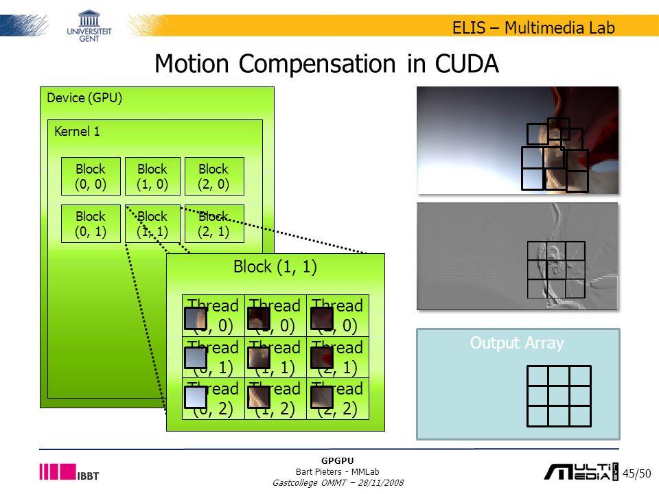 45/50 ELIS – Multimedia Lab GPGPU Bart Pieters - MMLab Gastcollege OMMT – 28/11/2008 Output Array Motion Compensation in CUDA Device (GPU) Kernel 1 Block (0, 0) Block (1, 0) Block (0, 1) Block (1, 1) Block (2, 0) Block (2, 1) Block (1, 1) Thread (0, 0) Thread (1, 0) Thread (2, 0) Thread (0, 1) Thread (1, 1) Thread (2, 1) Thread (0, 2) Thread (1, 2) Thread (2, 2)