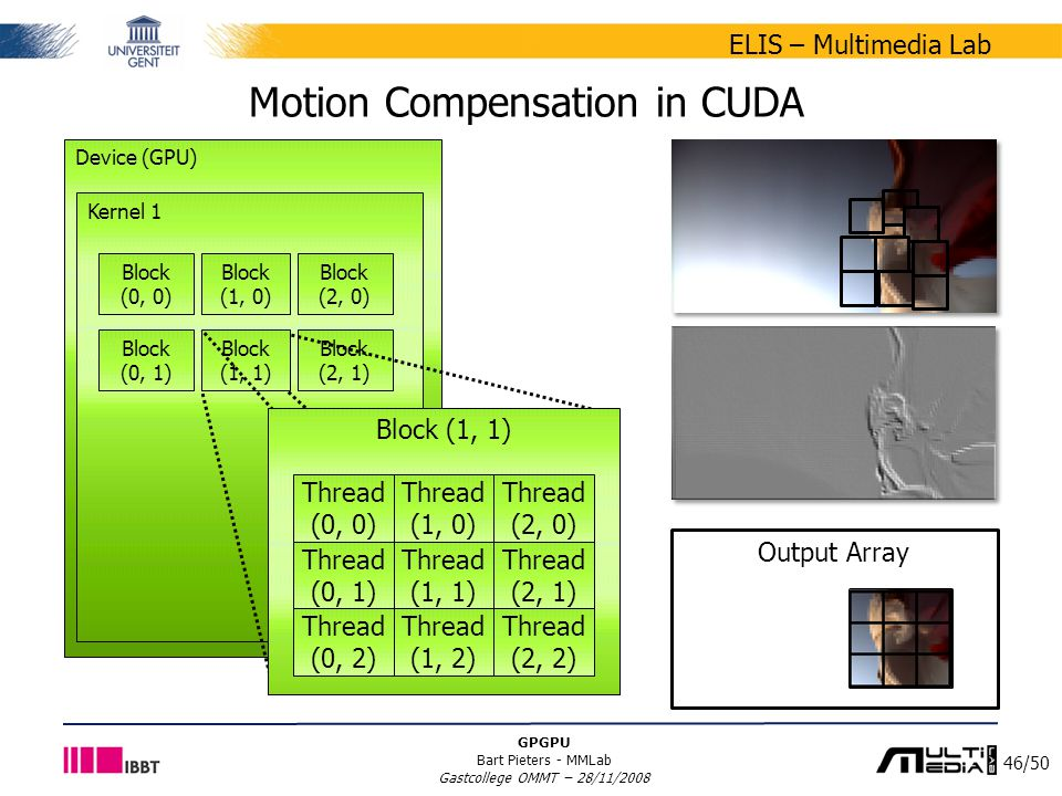 46/50 ELIS – Multimedia Lab GPGPU Bart Pieters - MMLab Gastcollege OMMT – 28/11/2008 Output Array Motion Compensation in CUDA Device (GPU) Kernel 1 Block (0, 0) Block (1, 0) Block (0, 1) Block (1, 1) Block (2, 0) Block (2, 1) Block (1, 1) Thread (0, 0) Thread (1, 0) Thread (2, 0) Thread (0, 1) Thread (1, 1) Thread (2, 1) Thread (0, 2) Thread (1, 2) Thread (2, 2)