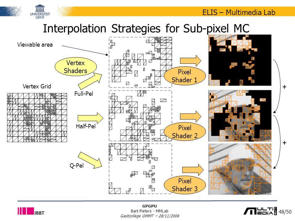 48/50 ELIS – Multimedia Lab GPGPU Bart Pieters - MMLab Gastcollege OMMT – 28/11/2008 Interpolation Strategies for Sub-pixel MC Vertex Grid Viewable area + + Vertex Shaders Pixel Shader 1 Full-Pel Half-Pel Q-Pel Pixel Shader 2 Pixel Shader 3