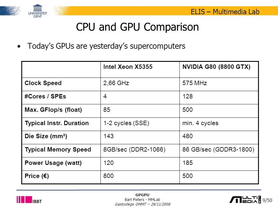 9/50 ELIS – Multimedia Lab GPGPU Bart Pieters - MMLab Gastcollege OMMT – 28/11/2008 CPU and GPU Comparison Intel Xeon X5355NVIDIA G80 (8800 GTX) Clock Speed2,66 GHz575 MHz #Cores / SPEs4128 Max.