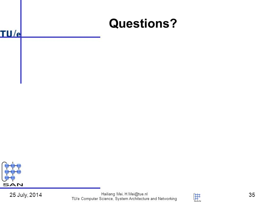 25 July, 2014 Hailiang Mei, TU/e Computer Science, System Architecture and Networking 35 Questions