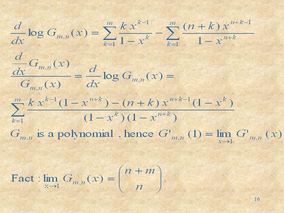 15 Computing moments of M m,n recompute E(M m,n ) (following René Swarttouw)