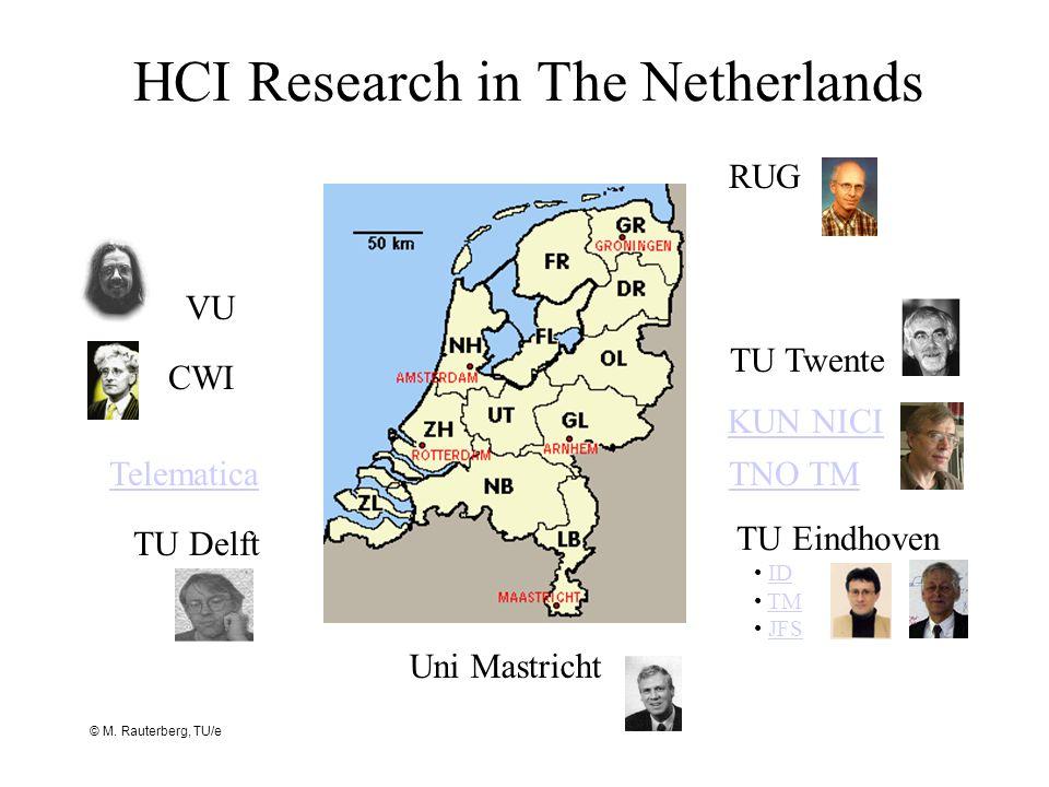 © M. Rauterberg, TU/e HCI Research in The Netherlands TNO TM CWI TU Eindhoven ID TM JFS VU Telematica KUN NICI TU Delft RUG Uni Mastricht TU Twente